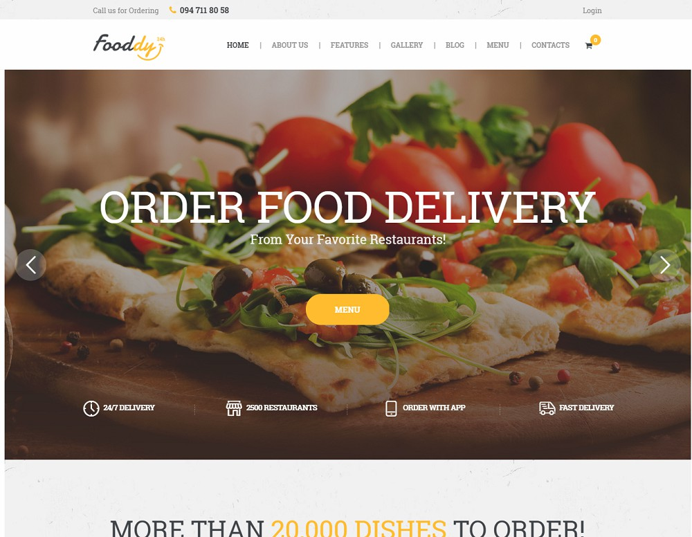 Fooddy 24/7 - food delivery wordpress theme