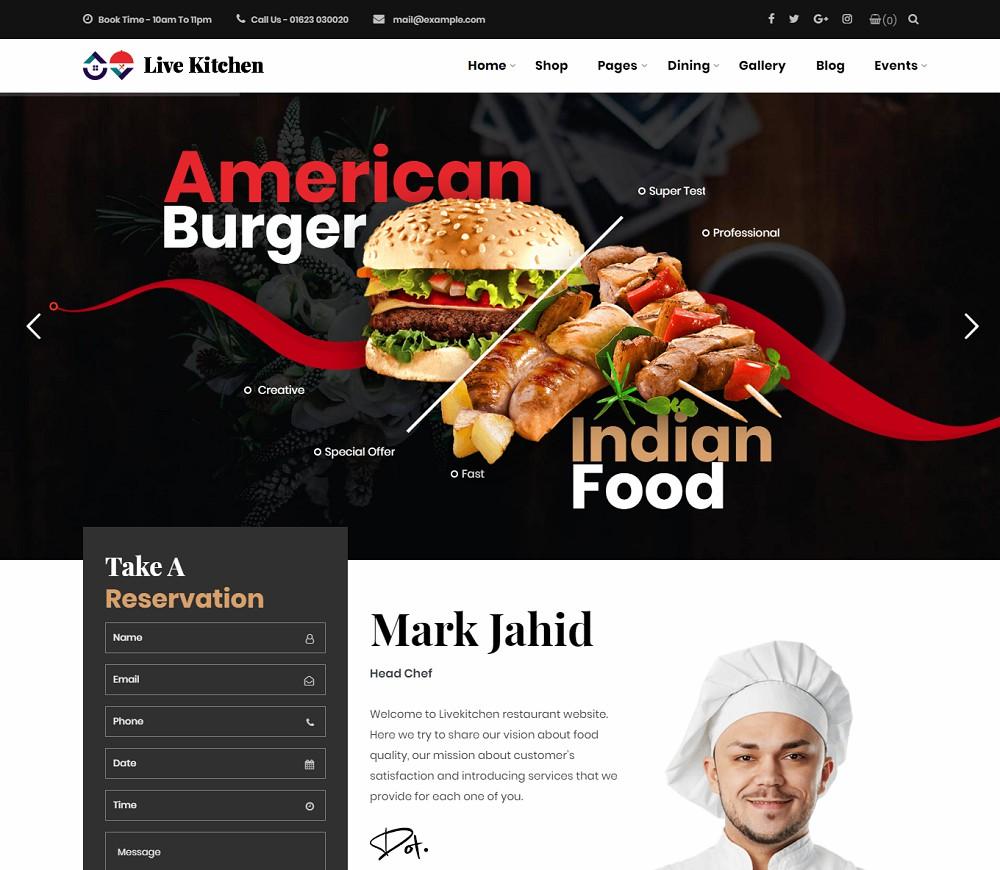 Livekitchen - burger wordpress theme