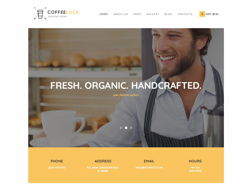 Coffee Luck - coffee shop wordpress theme free