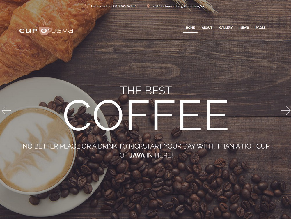 Cup o'Java - coffee shop wordpress theme free download