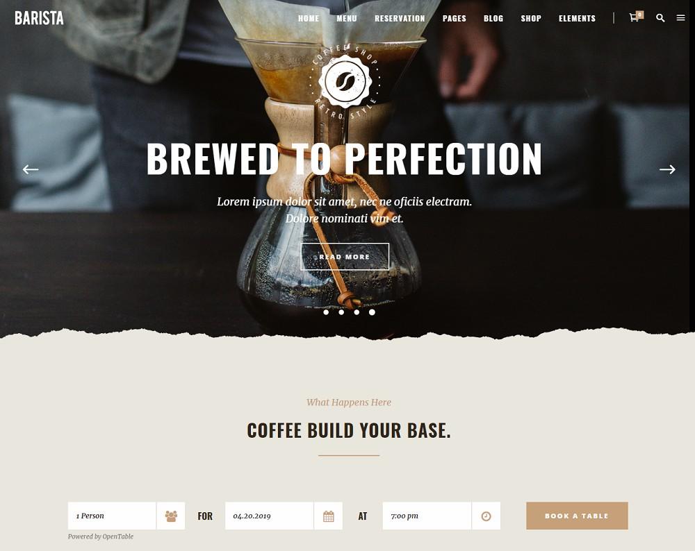barista - coffee shop wordpress theme free download