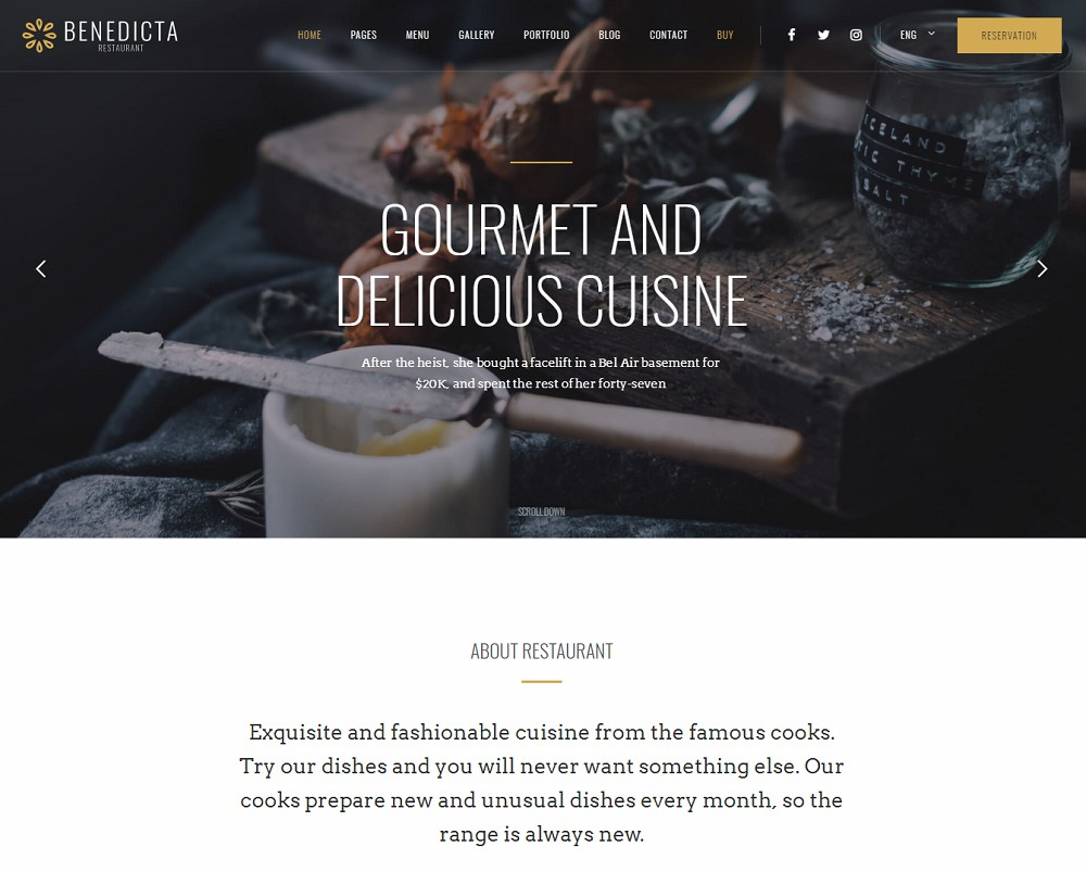 Benedicta - wordpress restaurant