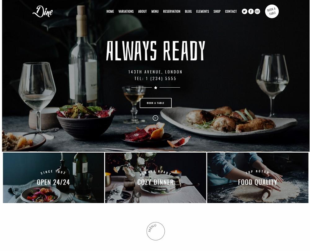Dine - wordpress restaurant theme