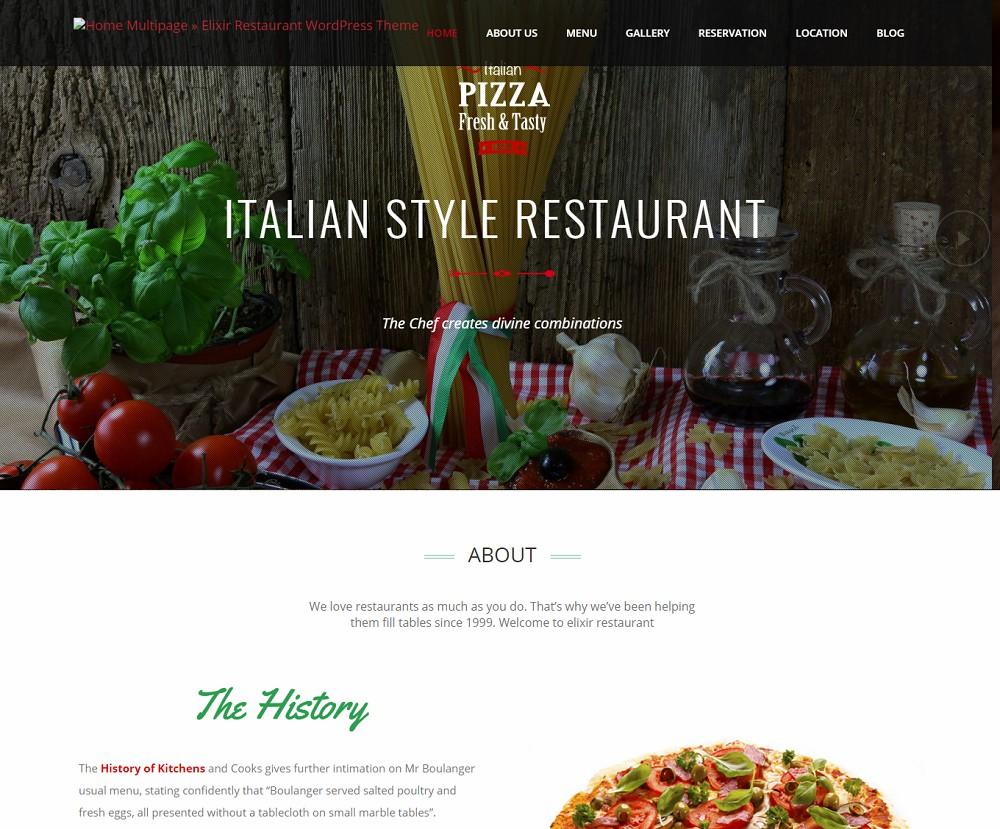 Elixir - wordpress restaurant theme free