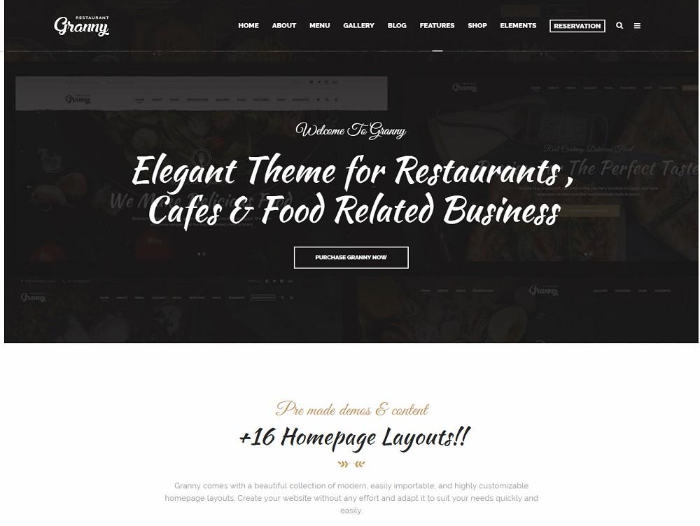 Restaurant Granny - wordpress cafe theme