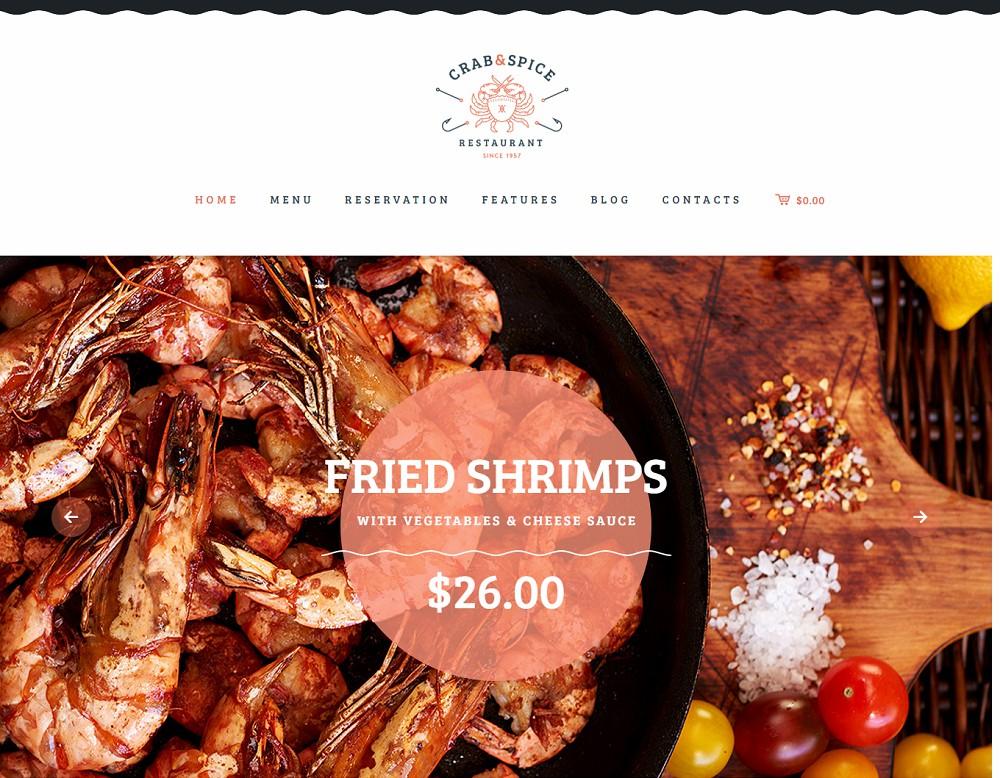 Crab & Spice - wordpress catering theme free