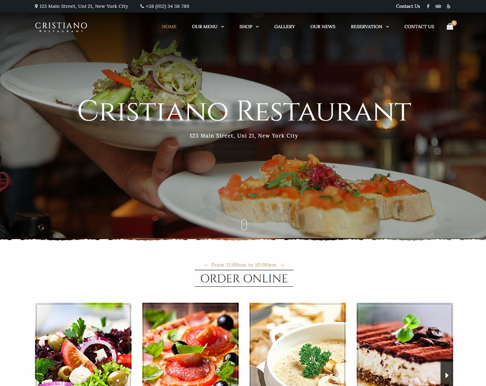 Cristiano Restaurant - wordpress catering theme free