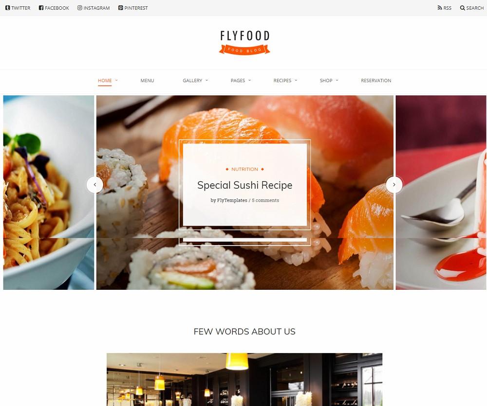 FlyFood - catering wordpress theme free