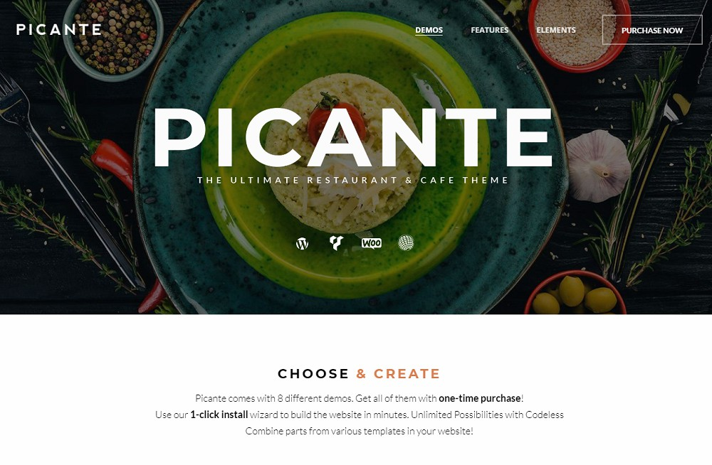 Picante - catering wordpress theme free