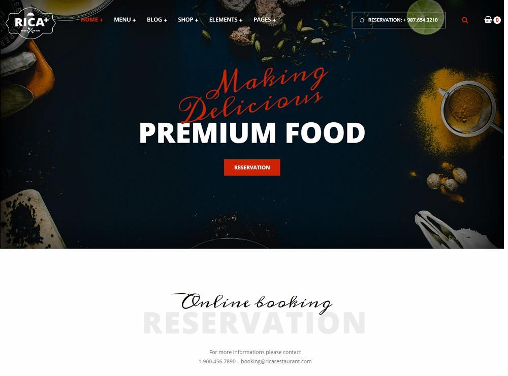 Rica Plus - catering website templates wordpress