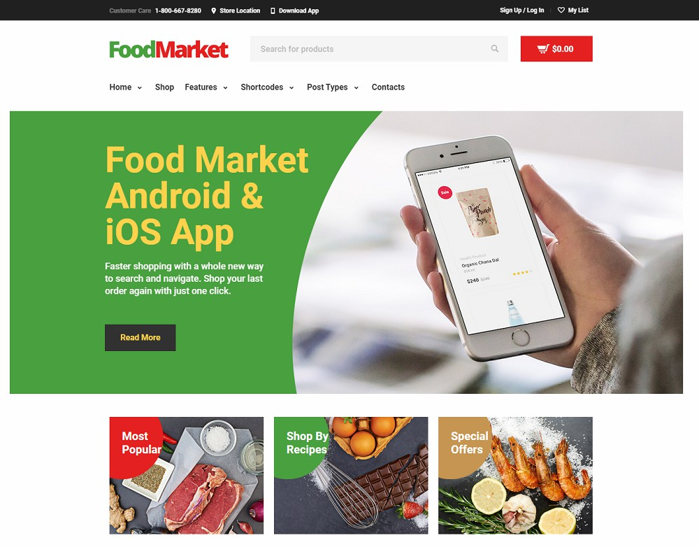 Food Market - food delivery wordpress theme free download