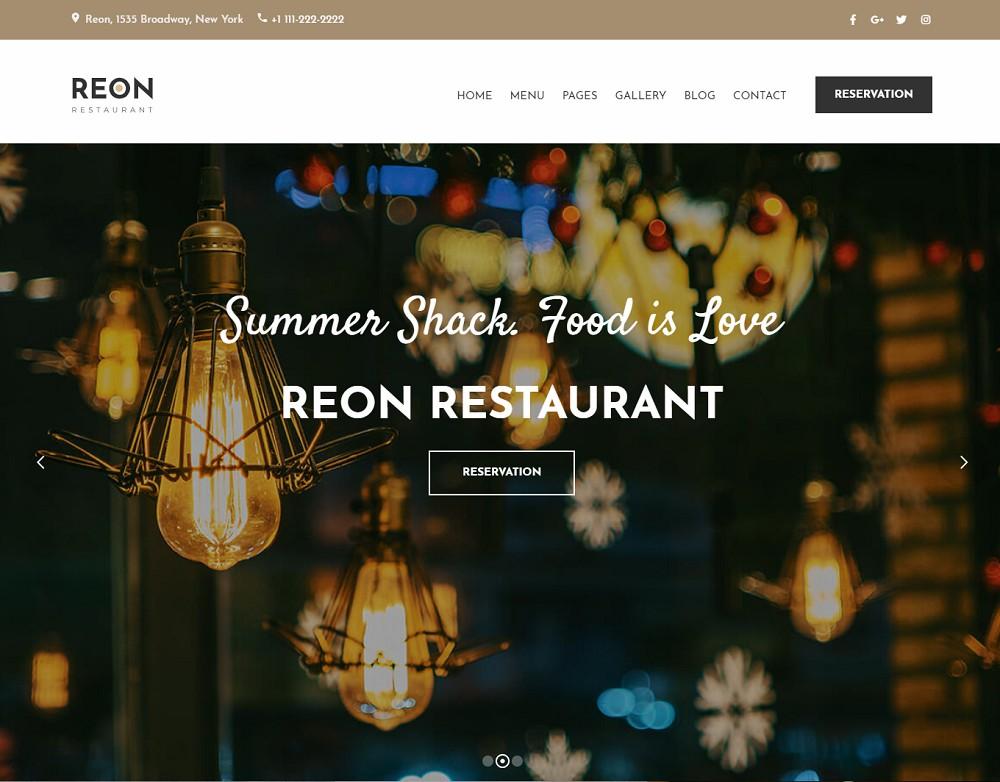 Reon - pizza website template wordpress