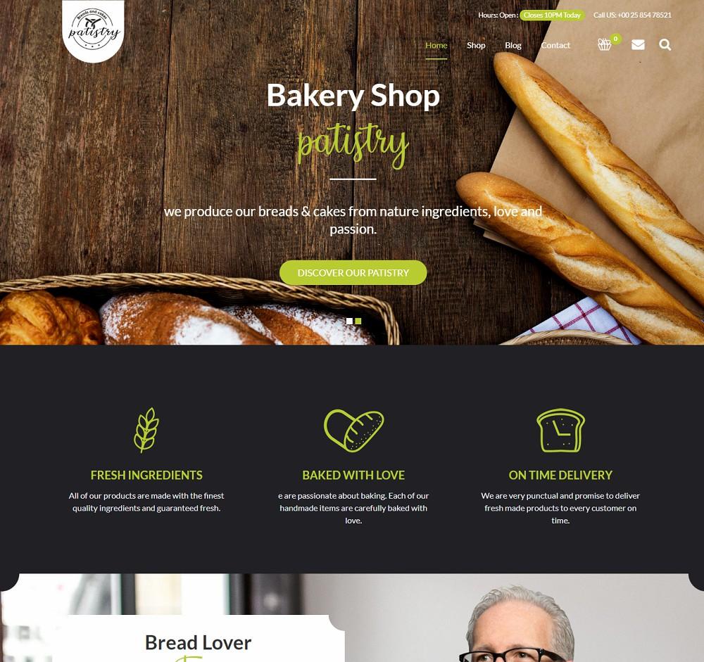 Patistry - best bakery wordpress theme