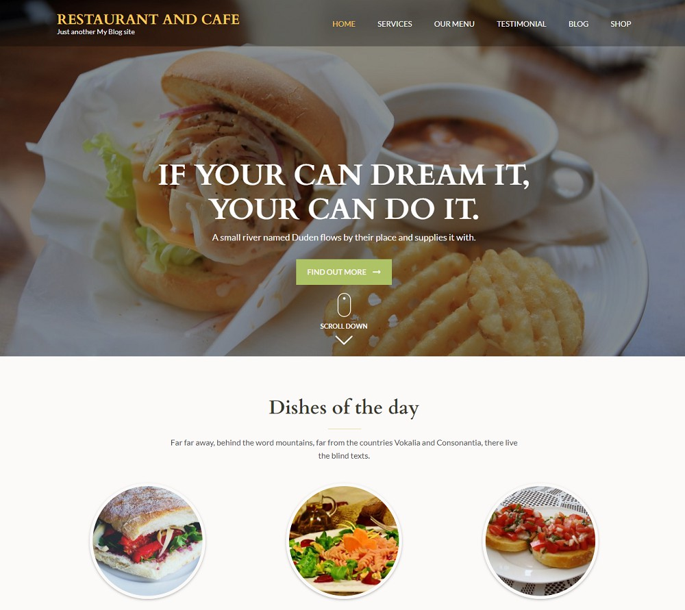 Restaurant and Cafe - restaurant template wordpress