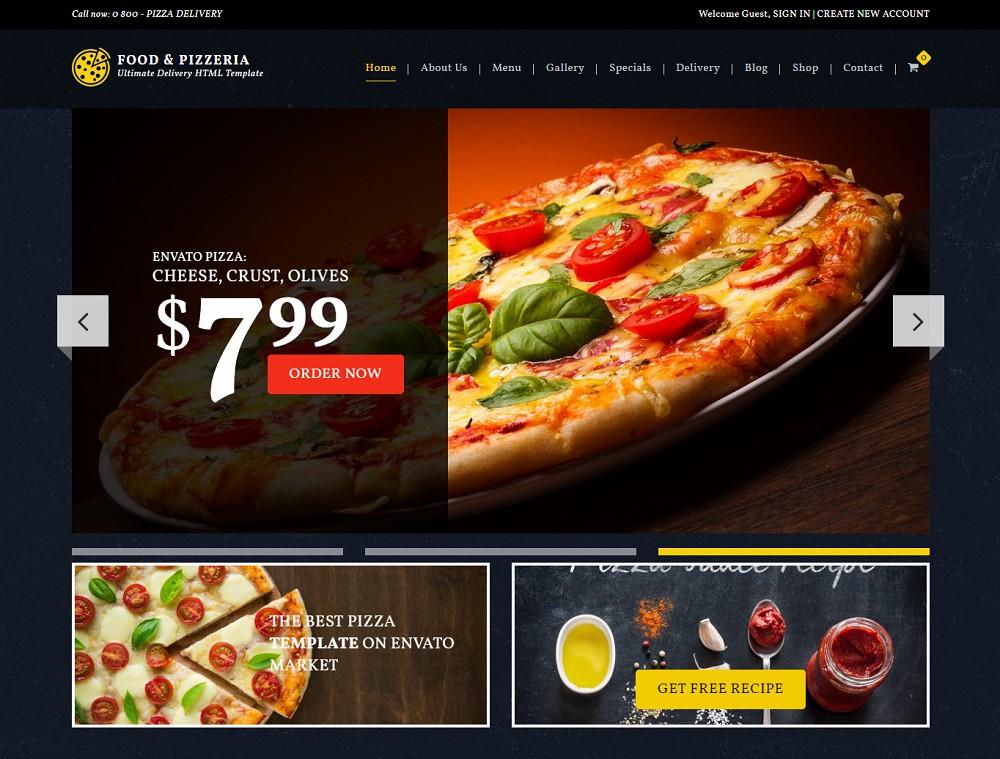 food & pizzeria - pizza website template wordpress