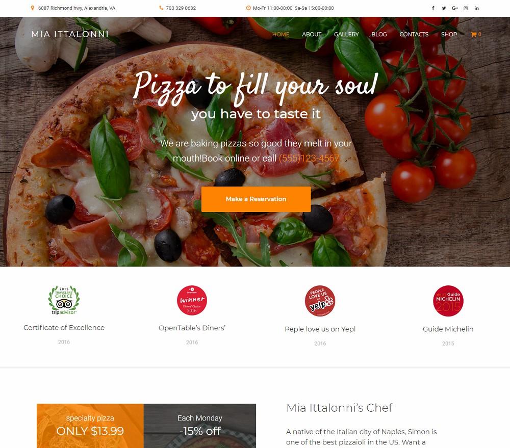Mia Ittalonni - pizza delivery wordpress theme