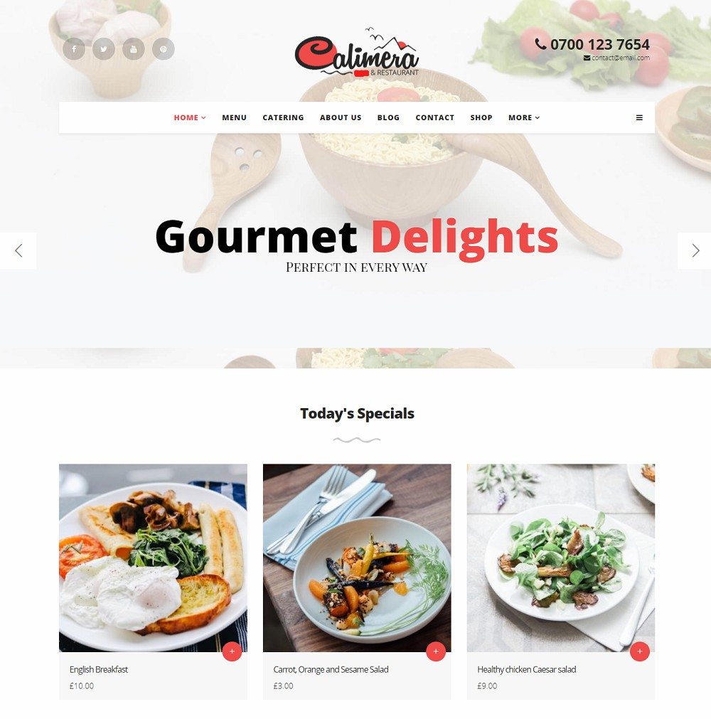 Calimera - restaurant/food wordpress theme