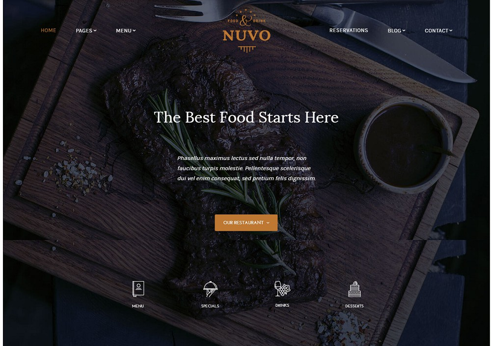 NUVO2 - food/bistro wordpress theme