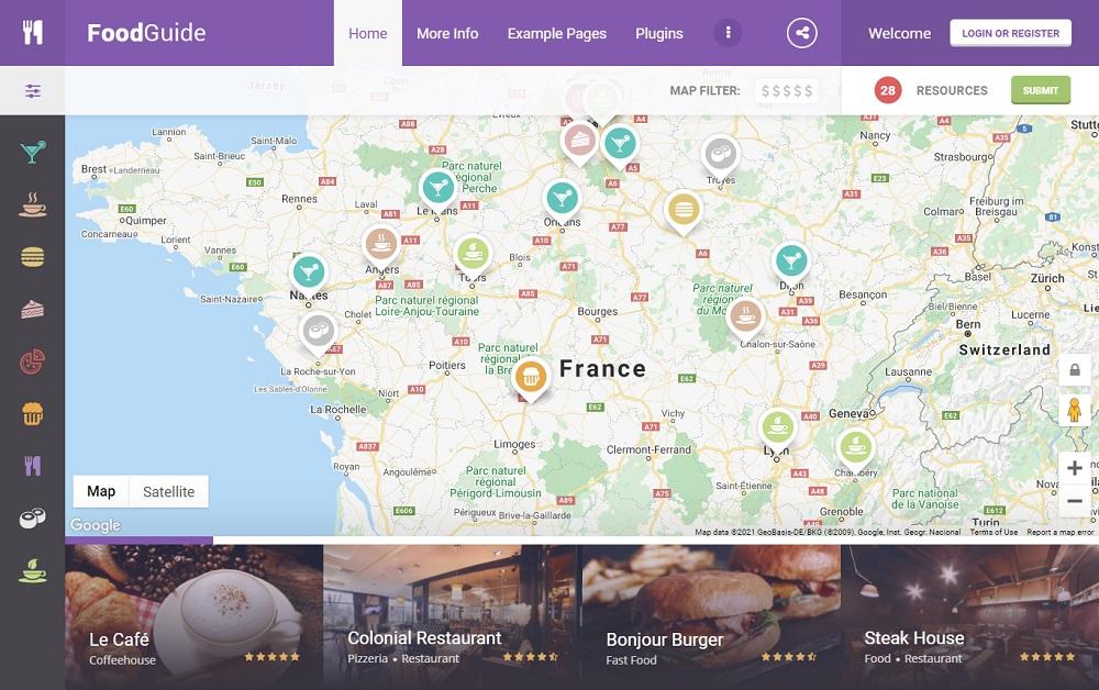FoodGuide - restaurant directory WordPress theme