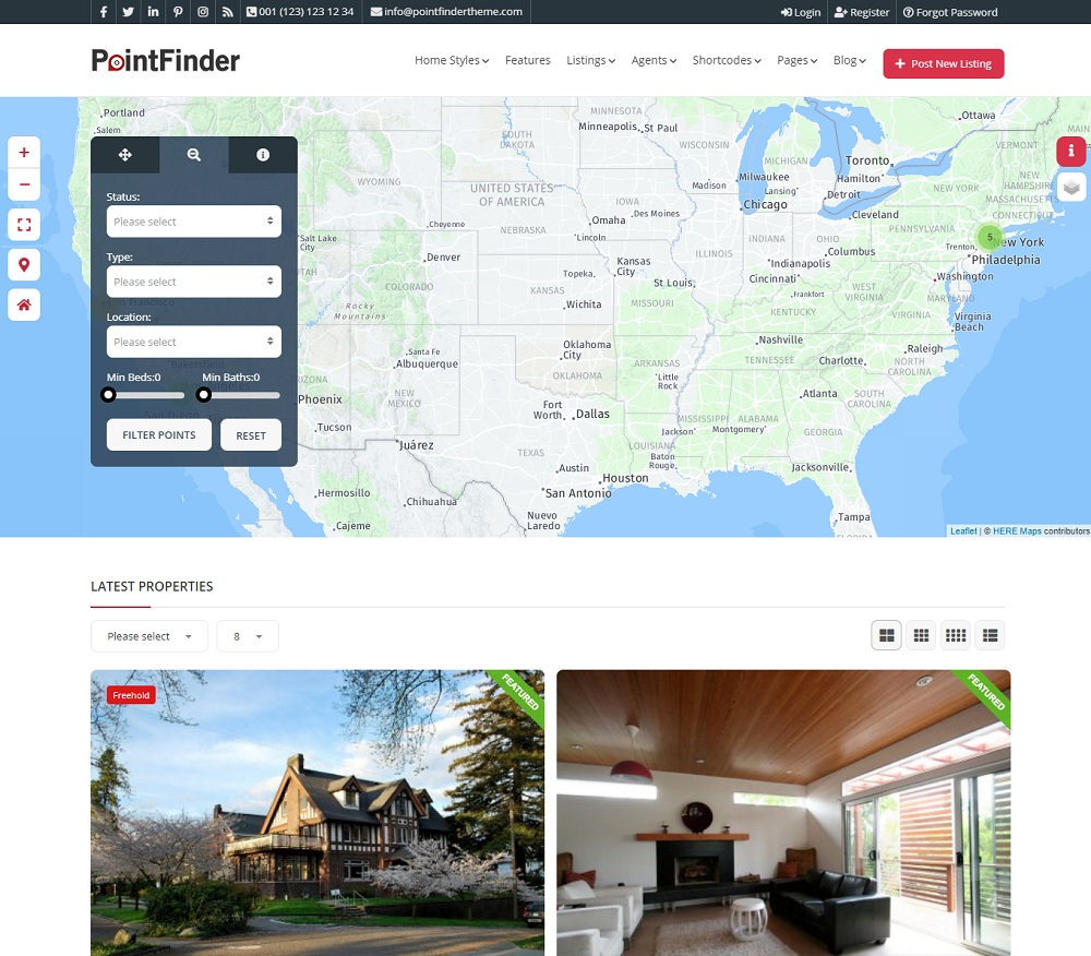 PointFinder - restaurant directory WordPress theme