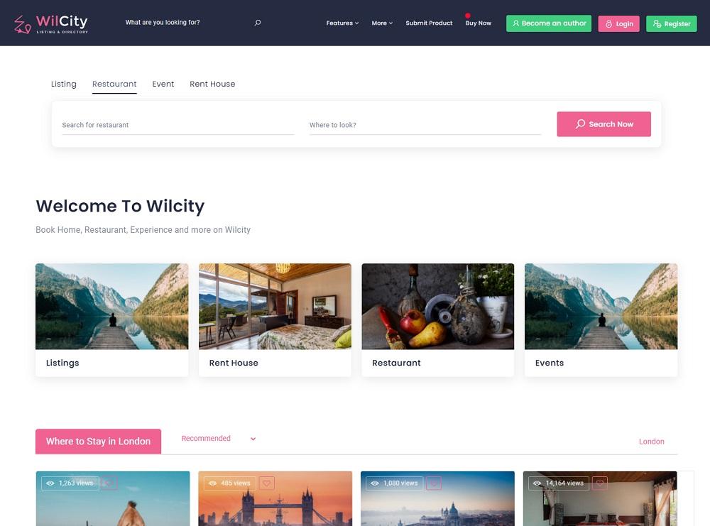 Wilcity - restaurant directory WordPress theme