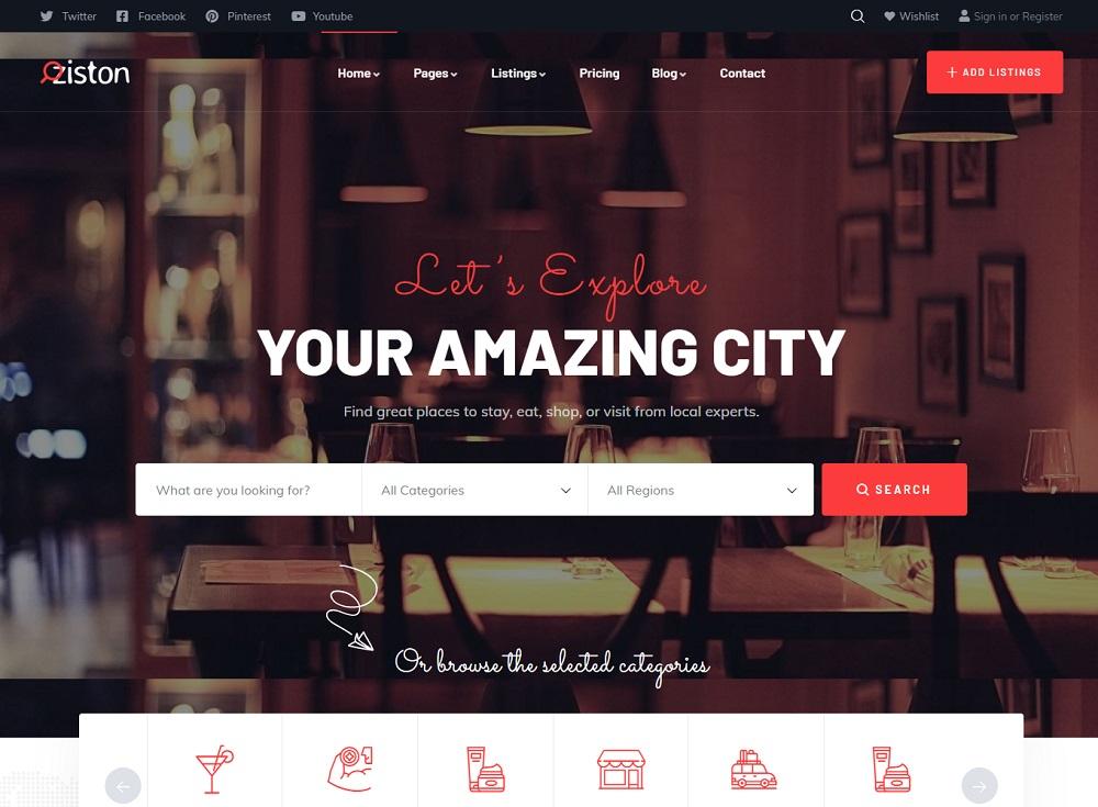 Ziston - listing WordPress theme